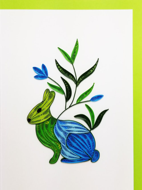 Iconic Quilling Green Rabbit Greeting Card
