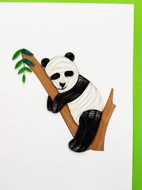 Iconic Quilling Panda in Tree Greeting Card