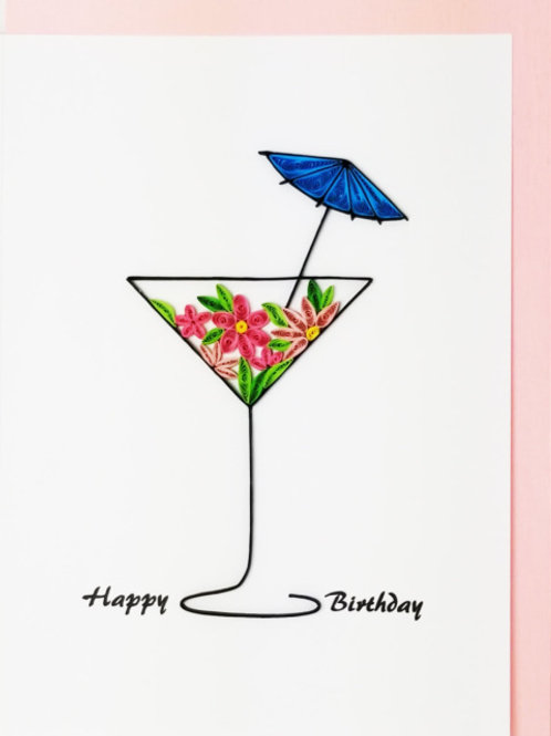 Iconic Quilling Happy Birthday Martini Greeting Card
