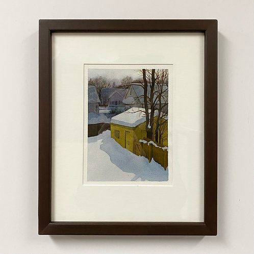 SOLD Garage In Winter Watercolor by Andrew Grum Carr