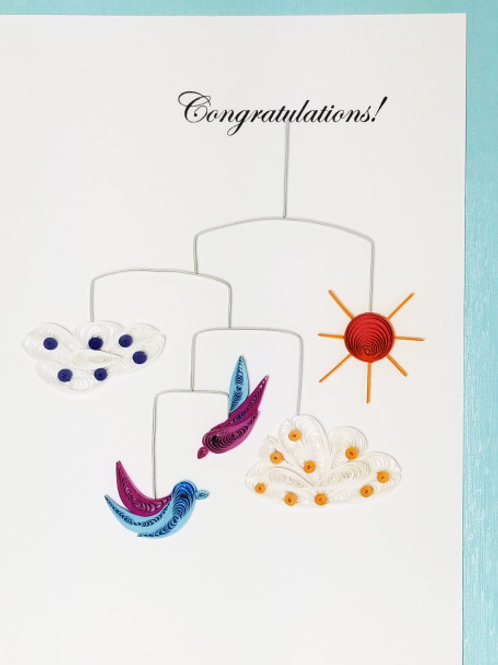 Iconic Quilling Congratulations Baby Mobile Greeting Card