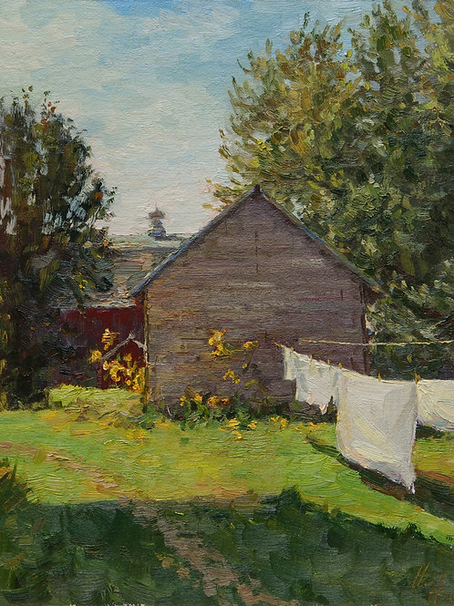 "SOLD ""Laundry Day"" Hannah C. Heyer Oil Painting"