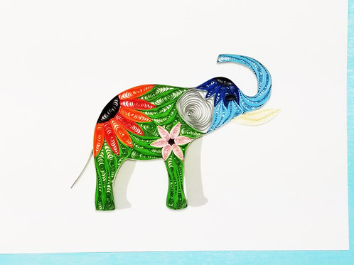 Iconic Quilling Elephant Greeting Card