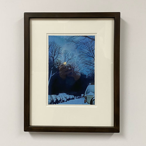 SOLD Ashland Avenue, Evening Snow Watercolor by Andrew Grum Carr