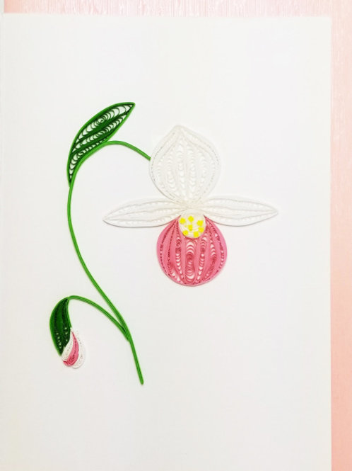 Iconic Quilling Minnesota Lady Slipper Greeting Card