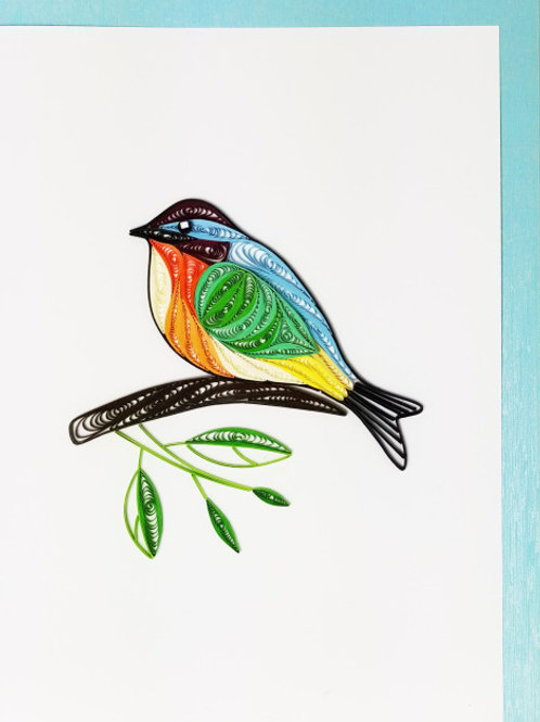 Iconic Quilling Five Color Bird Greeting Card