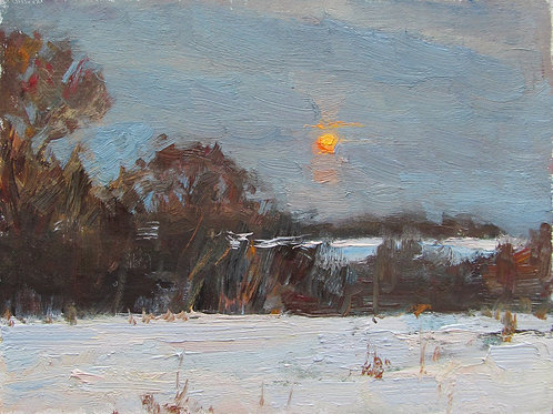 "SOLD ""Moonrise Study"" Hannah C. Heyer Oil Painting"