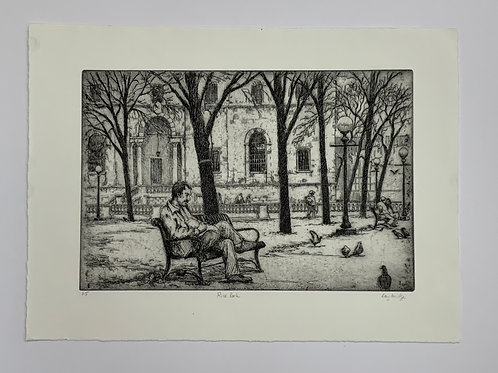 Rice Park Etching by Stuart Loughridge