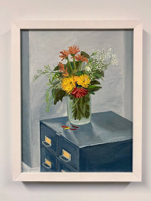 Flowers and Filing Oil Painting by Sam Patnoe