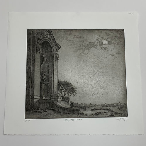 Clearing Skies Etching by Stuart Loughridge