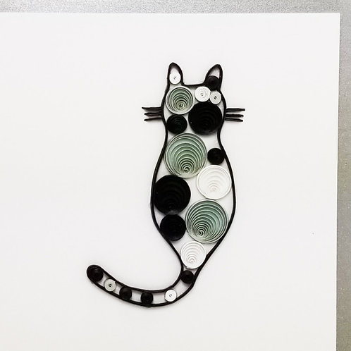 Iconic Quilling Grey Cat Greeting Card