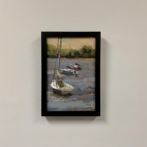 "Naomi Tiry Salgado ""Too Windy for Sailing"" Oil Painting"