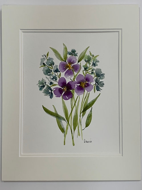 Violets Watercolor by Laurie Plattes