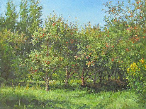 """SOLD """"August in the Orchard"""" Hannah C. Heyer Oil Painting"""