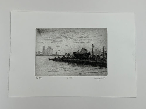 Etching of Duluth by Stuart Loughridge