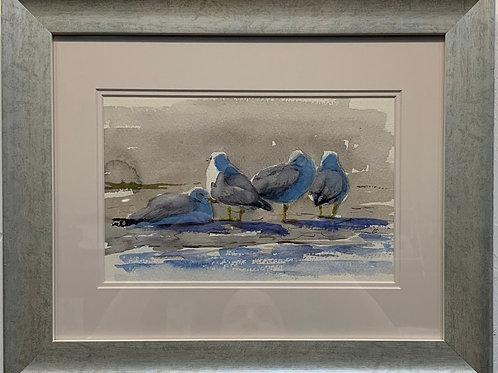 Loafing Gulls watercolor by Kurt Schulzetenberg