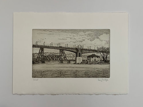 Saint Paul High Bridge Etching by Stuart Loughridge