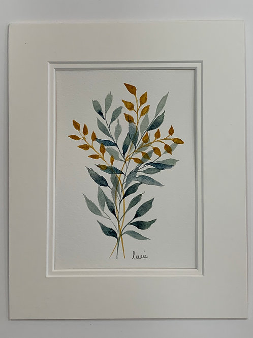 Gold & Green Plant Watercolor by Lauris Plattes