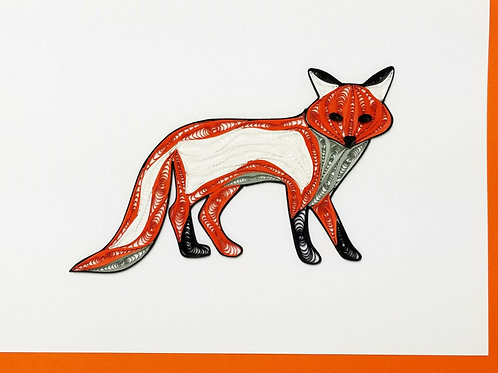 Iconic Quilling Fox Greeting Card