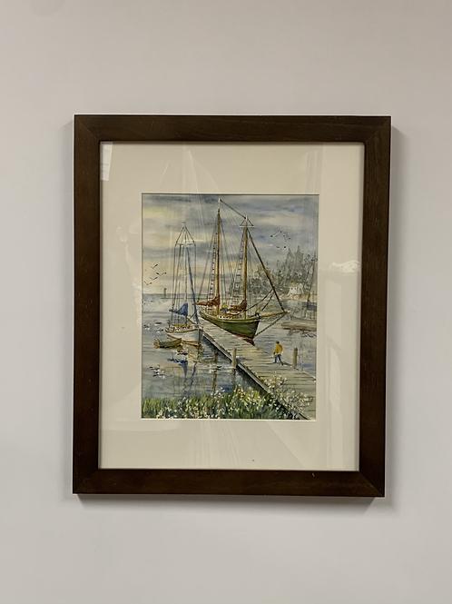 "Ken Valentas ""Schooner Hjordis"" Watercolor"