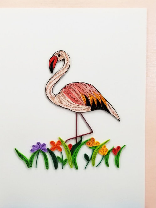 Iconic Quilling Flamingo Greeting Card