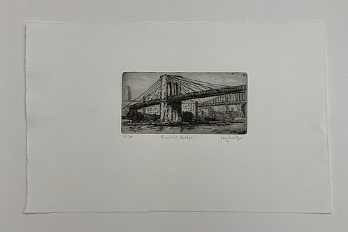 Brooklyn Bridge Etching by Stuart Loughridge