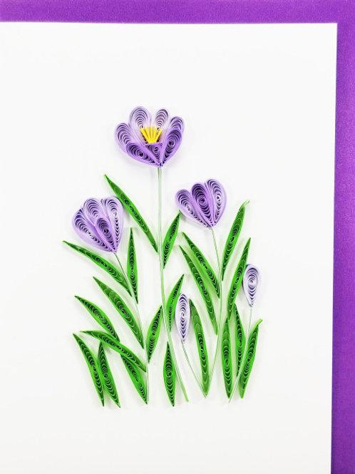 Iconic Quilling Purple Crocus Greeting Card
