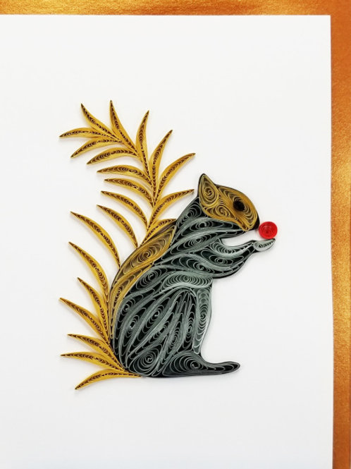 Iconic Quilling Squirrel Greeting Card