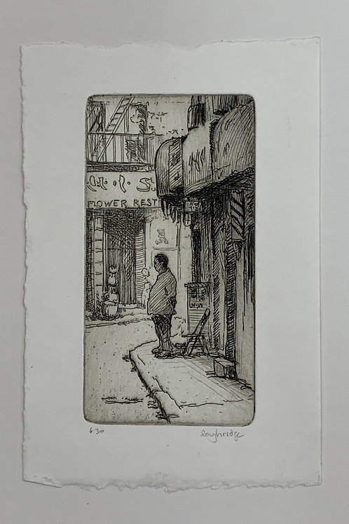 Man on Street Corner etching by Stuart Loughridge