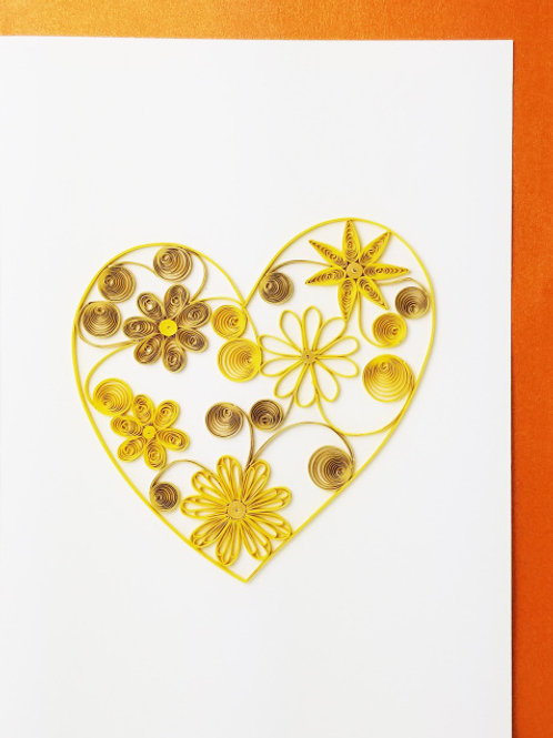 Iconic Quilling Gold Flower Heart Greeting Card