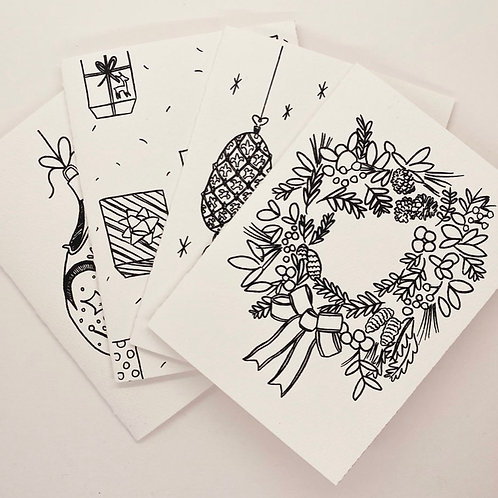 Holiday Coloring Greeting Card Packs by Adit