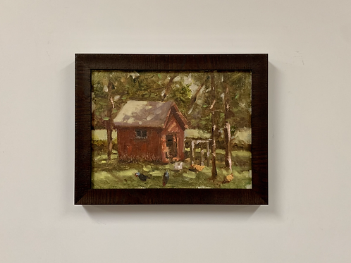 "Kurt Schulzetenberg ""Kami's Chickens"" Oil on Linen Painting"