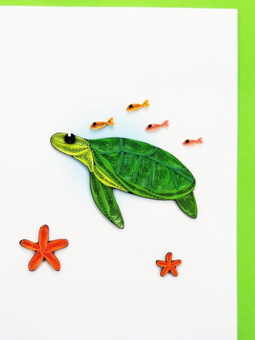 Iconic Quilling Turtle with Fish Greeting Card