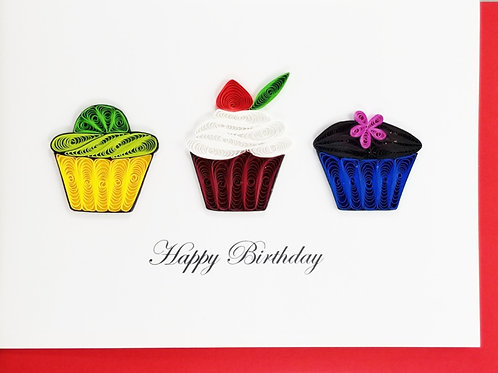 Iconic Quilling Happy Birthday Cupcakes Greeting Card