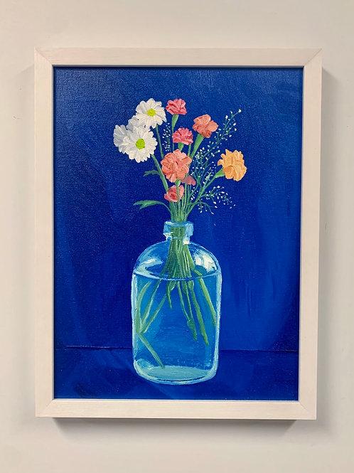 Bottled Flowers Oil Painting by Sam Patnoe