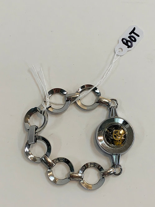 Bitz of Time Silver Bracelet with Watch Parts