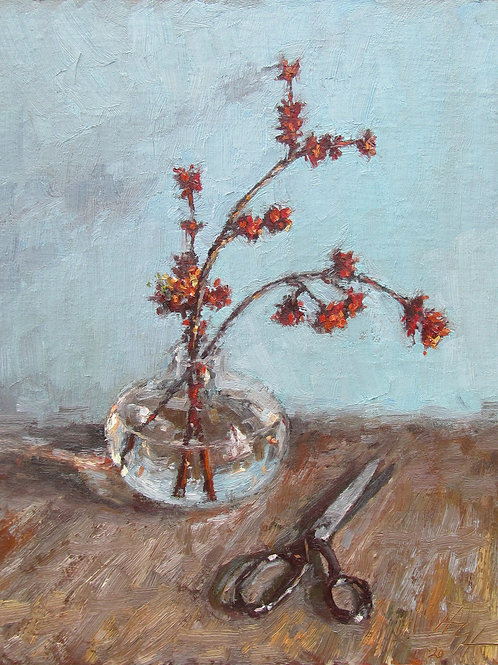 "SOLD ""Silver Maple Flowers"" Hannah C. Heyer Oil Painting"