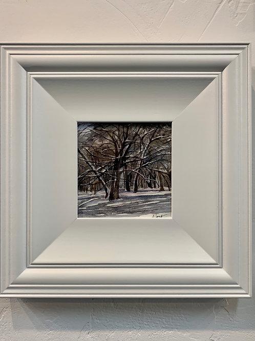 """Jeanne Long """"Winter Quiet"""" Watercolor"""