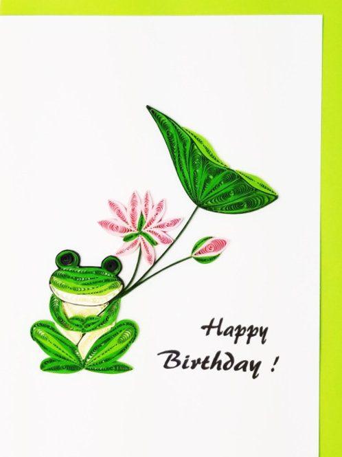 Iconic Quilling Happy Birthday Frog Greeting Card