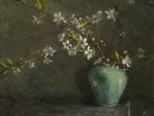 """Canada Plum Blossoms"" Hannah C. Heyer Oil Painting"