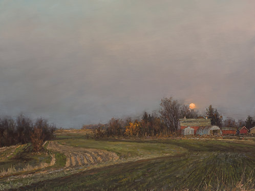 """SOLD """"April Moon Rise Over Winter Wheat Field"""" Hannah C. Heyer Oil Painting"""