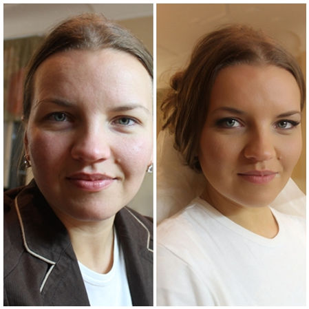 Classic Bridal Makeup Look, before and after transformation