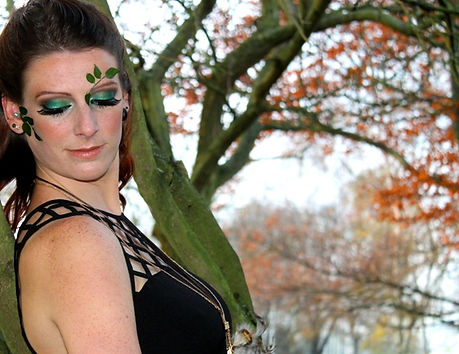 Green-makeup-smokey-eyes-photo-shoot-themed-forest-woods-outdoors.JPG