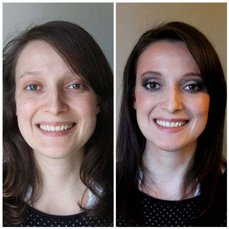 Before and After Makeup look, for Big eyes