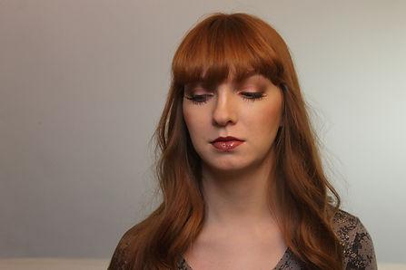 Soft smokey eyes, for red hair girl, dark brownish lips