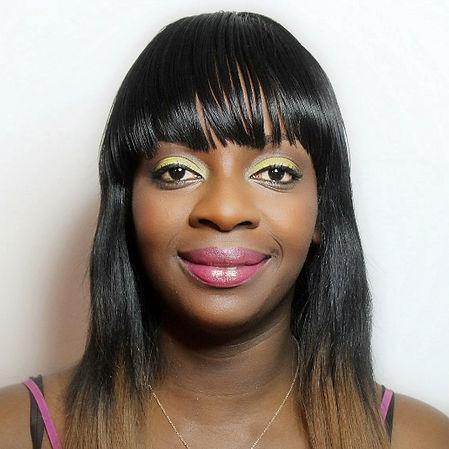 Black woman bright color, colour makeup, yellow eyeshadows, pink lips