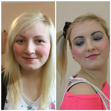 Decade makeup, 80's makeup, disco era, bright colours, shimmery eyeshadows, bright lips, side pony tail