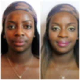 Black woman makeup look, bright colours, pink fuscia lips, smooth skin