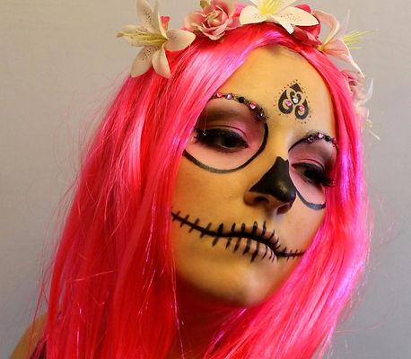 Bright Pink Sugar skull, Calavera, Halowwen Makeup, with glitter, pink eyeshadow look, black nose