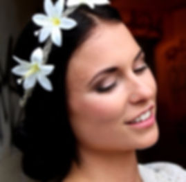 Beautiful Bride to Be, black hair, flowers in hair, with classic Bridal makeup